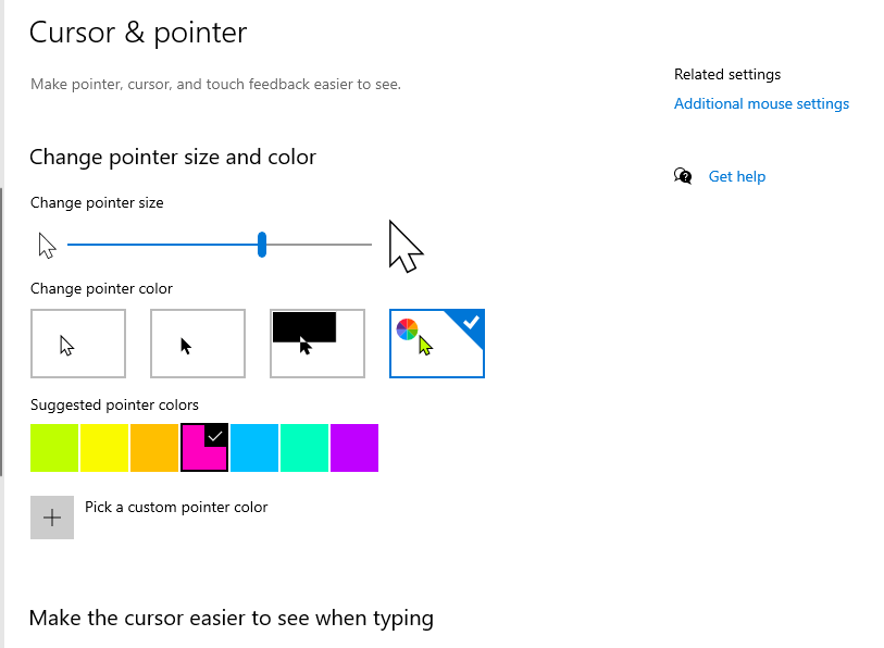 Microsoft Accessibility Mouse Pointer Customization