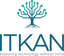 A vector image of a tree with exposed roots. It's branches are in the shape of circuit board traces. Below the logo are the works ITKAN and Exploring technology without limits.